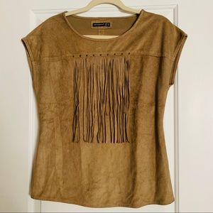 Faux suede shirt with tassels